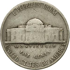 United States / Five Cents 1940 Jefferson Nickel - reverse photo