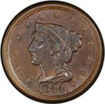 United States / One Cent 1844 Braided Hair / 1844/81 overdate - obverse photo
