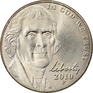 United States / Five Cents 2010 Jefferson Nickel - obverse photo