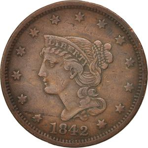 United States / One Cent 1842 Braided Hair - obverse photo