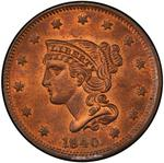 United States / One Cent 1840 Braided Hair / Small date on large 18 - obverse photo