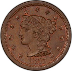 United States / One Cent 1857 Braided Hair - obverse photo