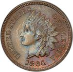 United States / One Cent 1864 Indian Head (Bronze) / L on ribbon - obverse photo