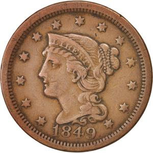 United States / One Cent 1849 Braided Hair - obverse photo