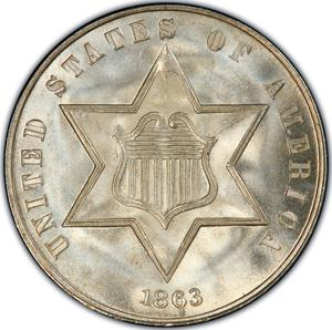 United States / Three Cents 1863 - obverse photo