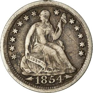 United States / Half Dime 1854 Seated Liberty - obverse photo