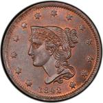 United States / One Cent 1842 Braided Hair / Small date - obverse photo