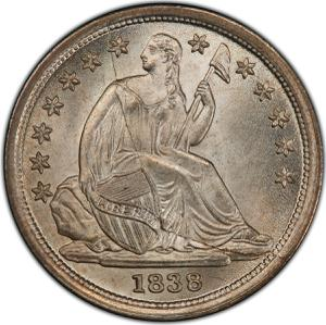 United States / One Dime 1838 Seated Liberty - obverse photo