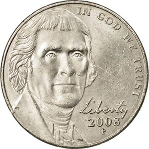United States / Five Cents 2008 Jefferson Nickel - obverse photo