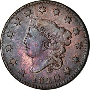United States / One Cent 1820 Matron Head - obverse photo