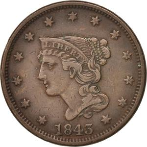 United States / One Cent 1843 Braided Hair - obverse photo