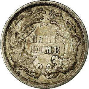 United States / Half Dime 1872 Seated Liberty - reverse photo
