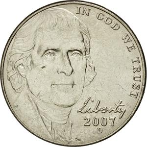 United States / Five Cents 2007 Jefferson Nickel - obverse photo