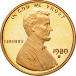 United States / One Cent 1980 Lincoln Memorial / Proof (San Francisco) - obverse photo