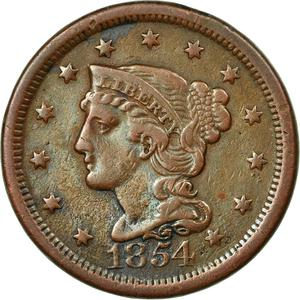 United States / One Cent 1854 Braided Hair - obverse photo