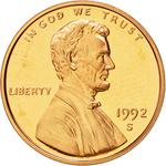 United States / One Cent 1992 Lincoln Memorial / Proof (San Francisco) - obverse photo