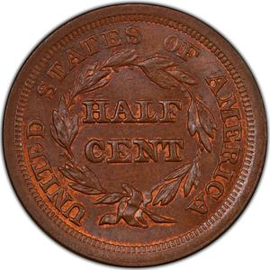 United States / Half Cent 1851 Braided Hair - reverse photo