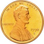 United States / One Cent 1990 Lincoln Memorial / Proof (San Francisco) - obverse photo