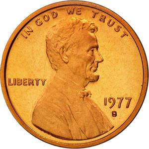 United States / One Cent 1977 Lincoln Memorial - obverse photo