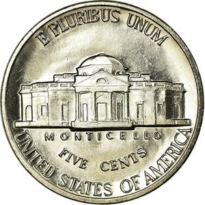 United States / Five Cents 1987 Jefferson Nickel - reverse photo