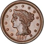 United States / One Cent 1857 Braided Hair / Small date - obverse photo