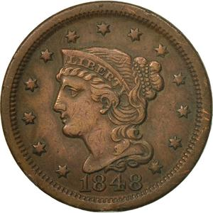 United States / One Cent 1848 Braided Hair - obverse photo