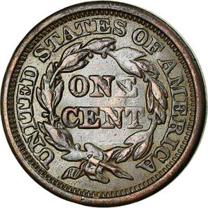 United States / One Cent 1846 Braided Hair - reverse photo