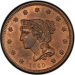 United States / One Cent 1840 Braided Hair / Small date - obverse photo