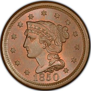 United States / One Cent 1850 Braided Hair - obverse photo