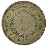 United States / Five Cents 1867 Shield Nickel / With rays between stars - reverse photo