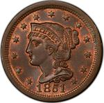 United States / One Cent 1851 Braided Hair / 1851/81 overdate - obverse photo
