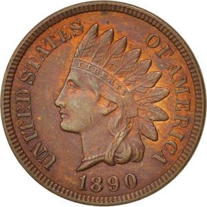 United States / One Cent 1890 Indian Head - obverse photo