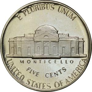 United States / Five Cents 1982 Jefferson Nickel - reverse photo