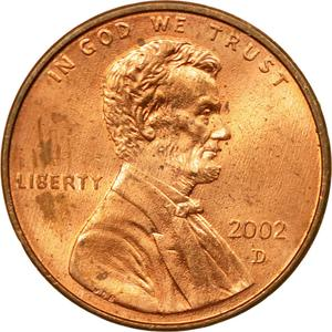 United States / One Cent 2002 Lincoln Memorial - obverse photo