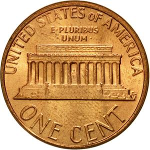 United States / One Cent 1980 Lincoln Memorial - reverse photo