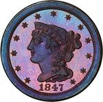 United States / Half Cent 1847 Braided Hair (Proof only) / First restrike, proof - obverse photo