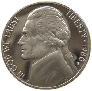 United States / Five Cents 1980 Jefferson Nickel - obverse photo