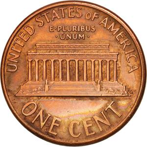 United States / One Cent 1992 Lincoln Memorial - reverse photo