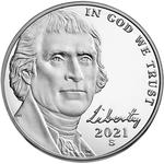 United States / Five Cents 2021 Jefferson Nickel / Proof (San Francisco Mint) - obverse photo