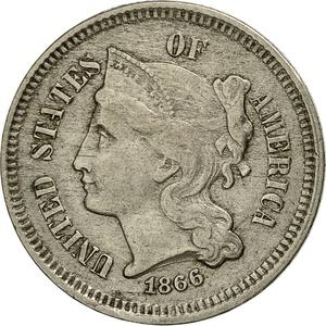 United States / Three Cents 1866, Nickel - obverse photo
