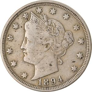 United States / Five Cents 1894 Liberty Head Nickel - obverse photo