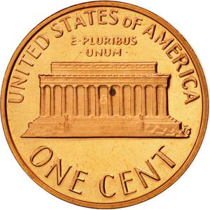 United States / One Cent 1977 Lincoln Memorial - reverse photo