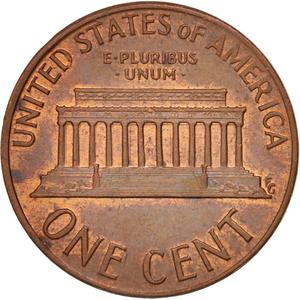 United States / One Cent 1973 Lincoln Memorial - reverse photo