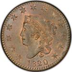 United States / One Cent 1820 Matron Head / 1820/19 overdate - obverse photo