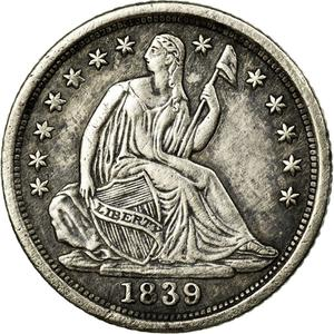 United States / Half Dime 1839 Seated Liberty - obverse photo