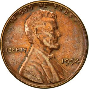 United States / One Cent 1954 Wheat Penny - obverse photo