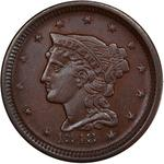 United States / One Cent 1848 Braided Hair / Small date (counterfeit) - obverse photo