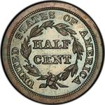 United States / Half Cent 1846 Braided Hair (Proof only) / First restrike, proof - reverse photo