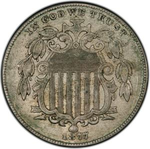 United States / Five Cents 1877 Shield Nickel - obverse photo