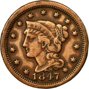 United States / One Cent 1847 Braided Hair - obverse photo